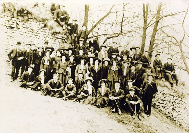 Chinley Lads Club with Ladies, Unknown Location, c 1900s