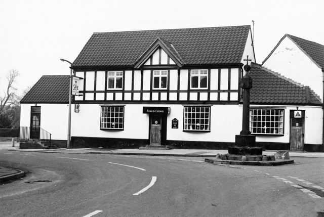 The Rose and Crown Public House and Cross, High Street, Barlborough, c 1975