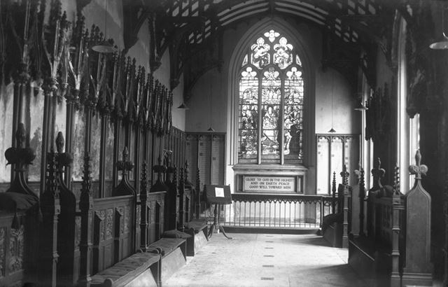 Interior of the chapel at Donington Hall, Castle Donington, Leicestershire, c 1915 ?