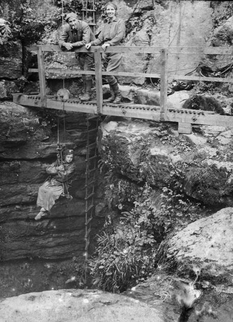 Cavers on the gantry for an early winch meet, c 1900