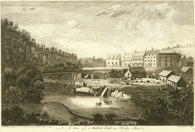 View of Matlock Bath, showing what is now the North Parade (A6), Matlock, 1749