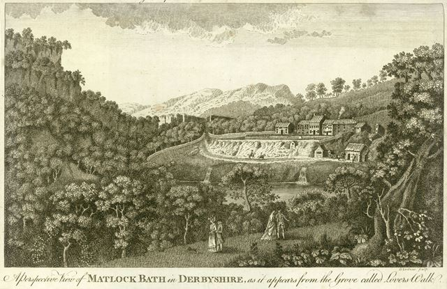 View of Matlock Bath, showing what is now the North Parade (A6), Matlock, c 1750