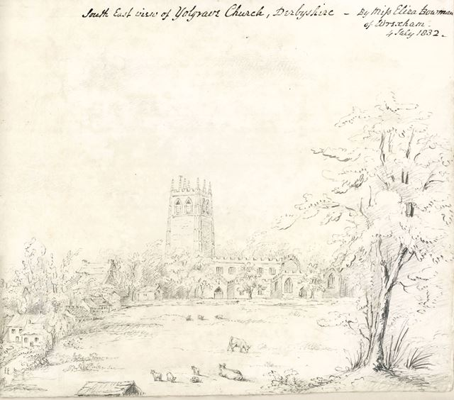 Southeast view of All Saint's Church, Middleton by Youlgreave, 1832