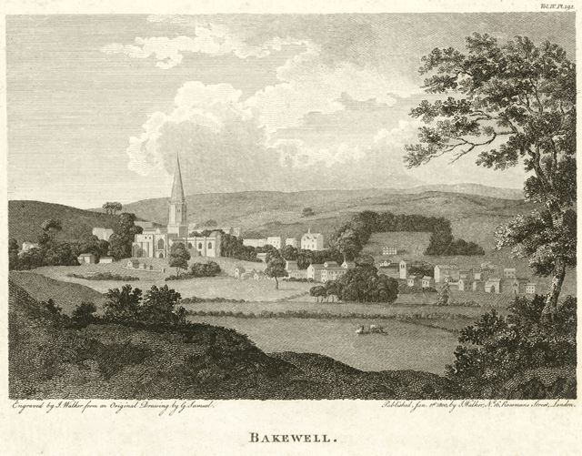View of Bakewell showing All Saint's Church, Bakewell, 1800