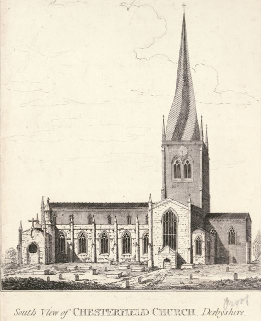 South view of Chesterfield Church, St Mary's Gate, Chesterfield, c 1800?