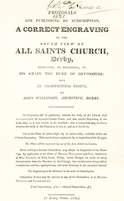 Proposal for publishing by subscription an engraving of All Saint's Church (Derby Cathedral), Iron G