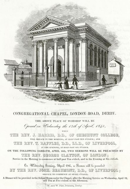 Advertisement for the opening of the Congregational Church,  London Road, c 1843