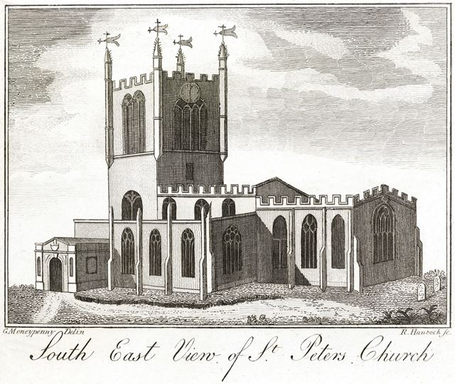Southeast view of St Peter's Church, St Peter's Street, c 1820?