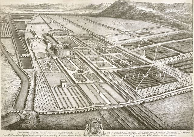 Aerial view of Chatsworth House and ornamental gardens, c 1709?
