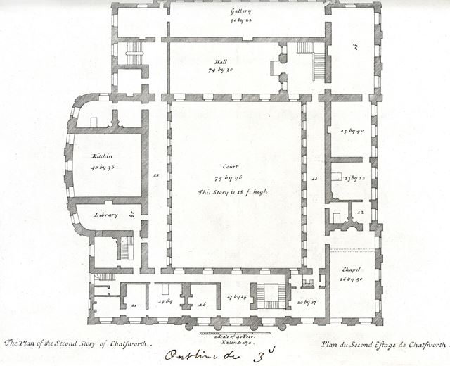 Plan of the second story of Chatsworth House, Chatsworth Estate, c 1800?
