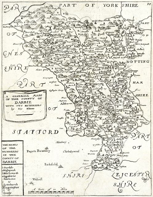'A General Mapp of the Covnty of Darbie with it's Hundreds', c 1693