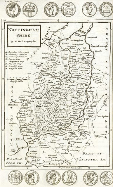 Map of Nottinghamshire by H. Moll with Roman Coins, c 1724