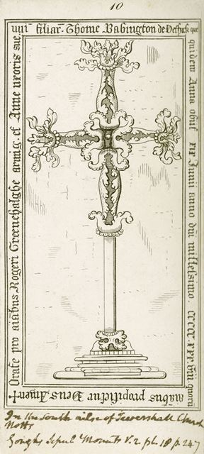 Memorial Cross to Anne Greenhalghe (d.1538) in St. Catherine's Church, Buttery Lane, Teversal