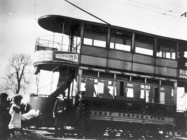 Derby Corporation Tram car and two children