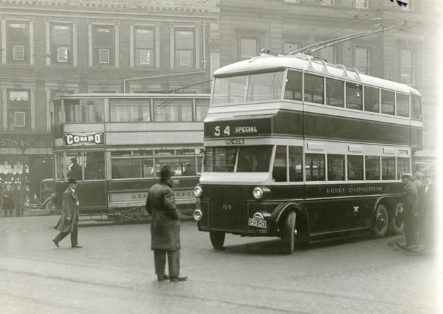 Derby Corporation trolley bus on test and electric tram