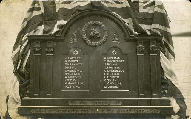 1914-18 Roll of Honour, D shop at Carriage and Wagon Works