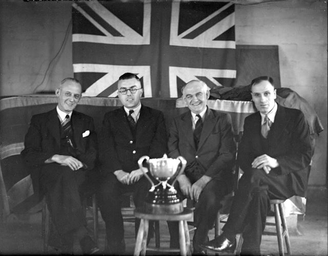 Presentation of cup for war savings at Silverhill Colliery