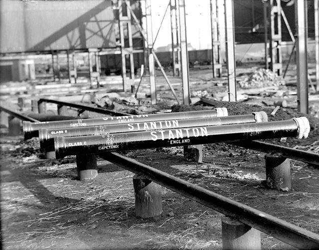 Stencilled pipes for export to South Africa, 18 foot Spun Plant, Stanton Ironworks