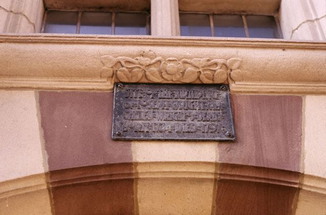Plaque commemorating Joseph Wright of Derby's birthplace