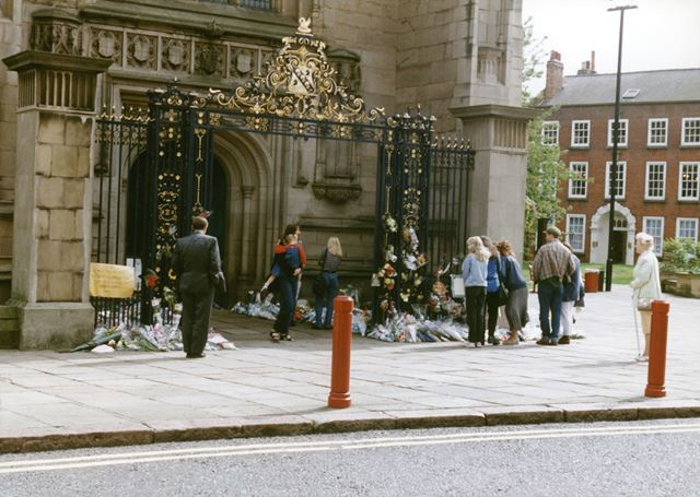 Floral tributes at Derby Cathedral Gates for Diana, Princess of Wales