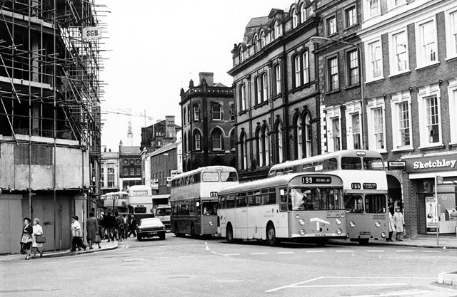 Derby Corporation Buses in the Cornmarket