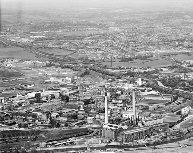 Aerial view of British Celanese and Power Station