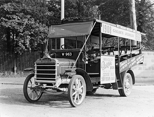 Replica of one of Barton's first buses; W 963 a 1908 Daimler Benz, first used on a route from Long E