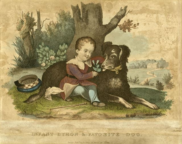 Infant Byron and favourite dog