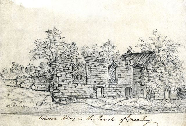 Remains of Beauvale Priory by William Stretton, c 1810