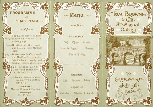 Programme and Menu for Tom Browne and Company's 8th Annual Outing to Chatsworth, 1904