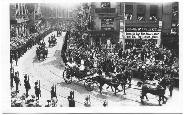 The Royal Visit of King George V and Queen Mary to Nottingham - The Royal Procession
