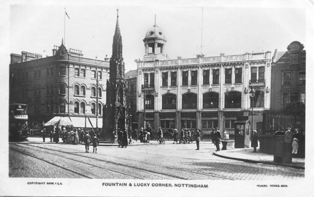 Fountain and 'lucky corner'. Now entrance to Broadmarsh Shopping Centre