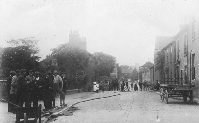 Blyth Road Looking West from Crossroads, Ranskill, c 1900s