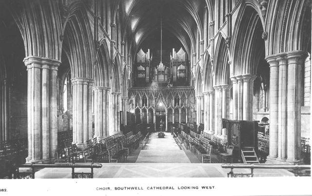 The Choirn Looking West, Southwell Minster, c 1900s