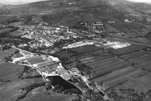 Aerial View Showing Two Mills, Chinley, 1980