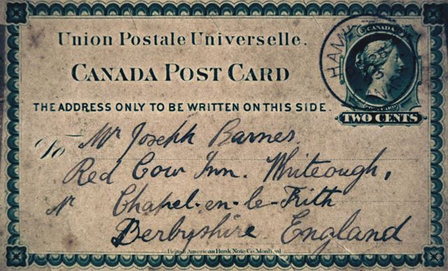 Postcard from Canada to Mr Joseph Barnes, Red Cow Inn, Whitehough, c 1890s