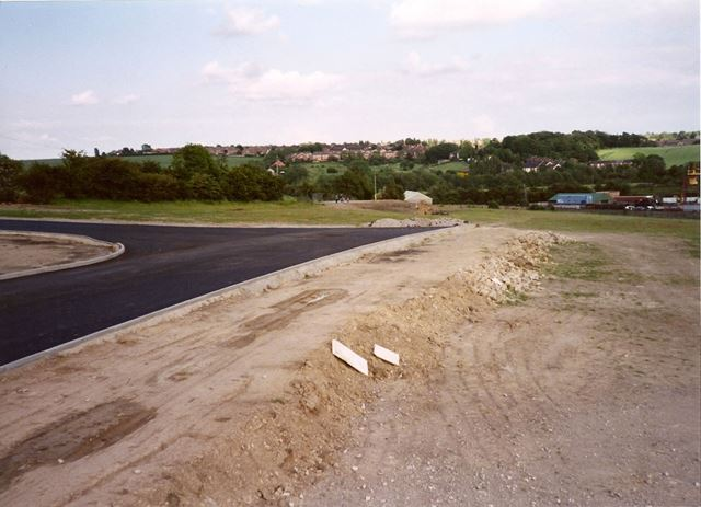 Wasteground and Newly Surfaced Whitting Valley Road, Old Whittington, 1995
