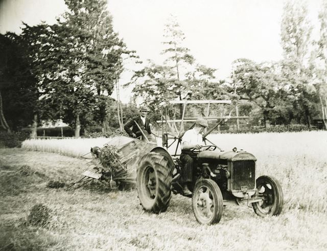 Tractor and binder harvesting at Cordwell Farm, Cordwell, c 1930s/1940s ?