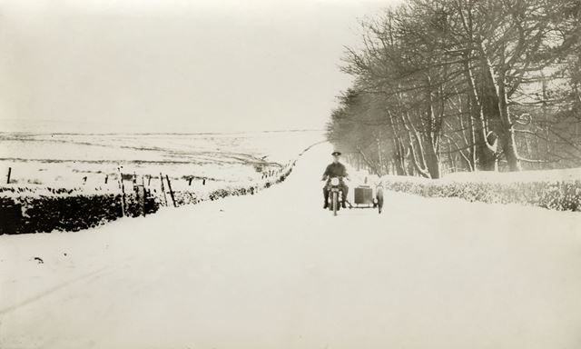 Owler Bar Road in the snow, Longshaw, pre 1935