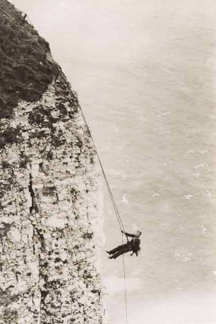 Egg collecting on Bempton Cliffs, Bempton, East Riding of Yorkshire, c 1940s ?
