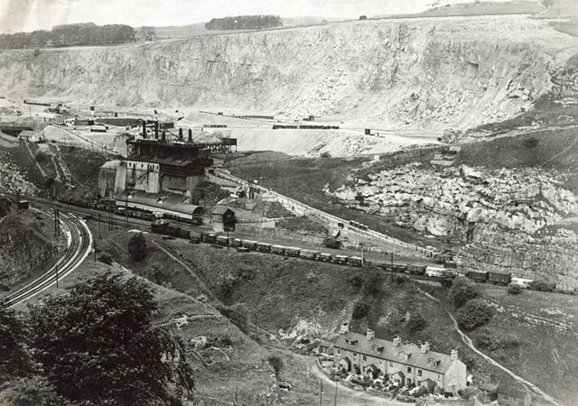View across Wye Valley to Buxton Central Lime Works, Blackwell, c 1930s ?