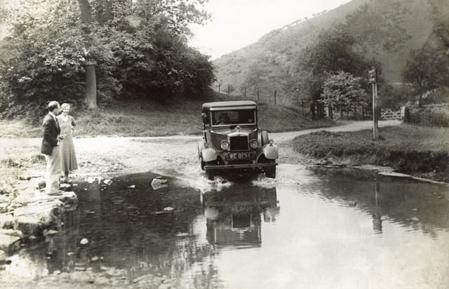 Car negotiating the ford at Wetton Mill, Wetton, c 1930s ?