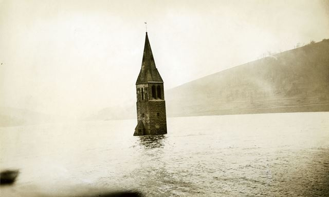 Remains of Derwent Church tower after the construction of Ladybower Reservoir, c 1940s