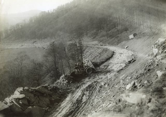 Diversion of main road during the construction of Ladybower Reservoir, c 1940s