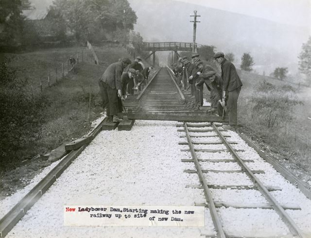 Construction of new railway between Bamford and the site of Ladybower Reservoir, c 1935
