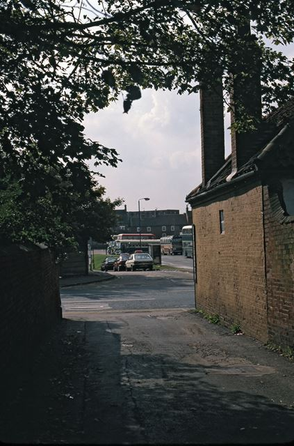 Looking out of Lane onto Lombard Street, Newark, 1987
