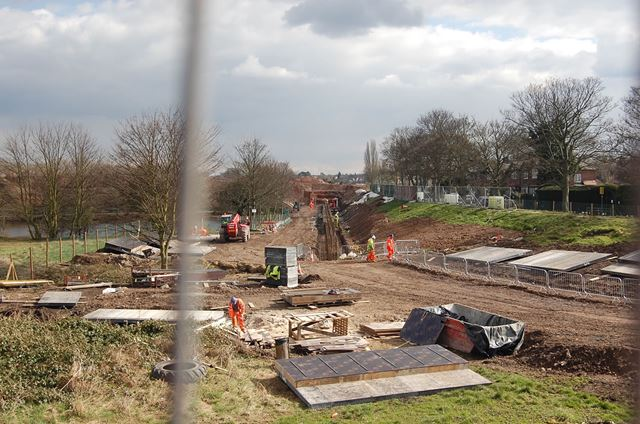 Construction of NET (tram system) Extension to Clifton, Coronation Avenue, Wilford, 2013