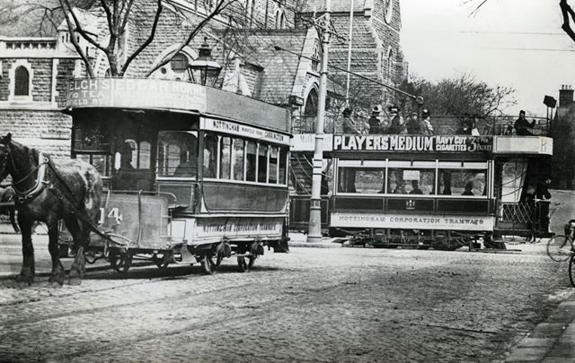 Nottingham Corporation horse and electric trams at the junction of Forest Road and Mansfield Road, N