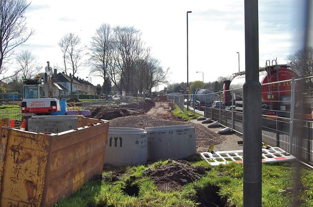 Road widening at the junction of Clifton Lane and Farnborough Road, Clifton, Nottingham, 2014