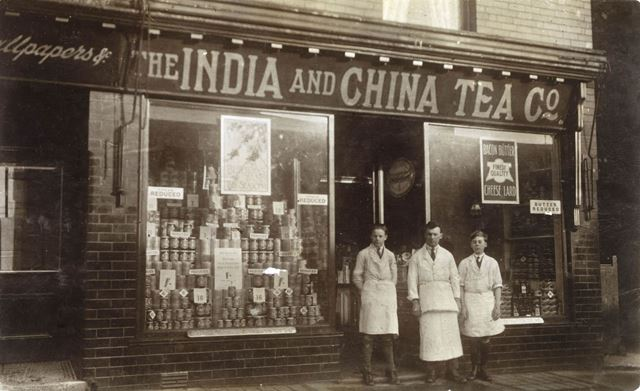 The India and China Tea Co's grocery shop and staff